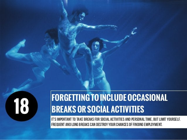 It's important to take breaks for social activities and personal time, but limit yourself. Frequent and long breaks can de...