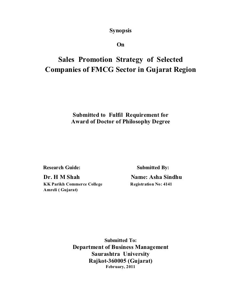 Synopsis                                  On   Sales Promotion Strategy of SelectedCompanies of FMCG Sector in Gujarat Reg...