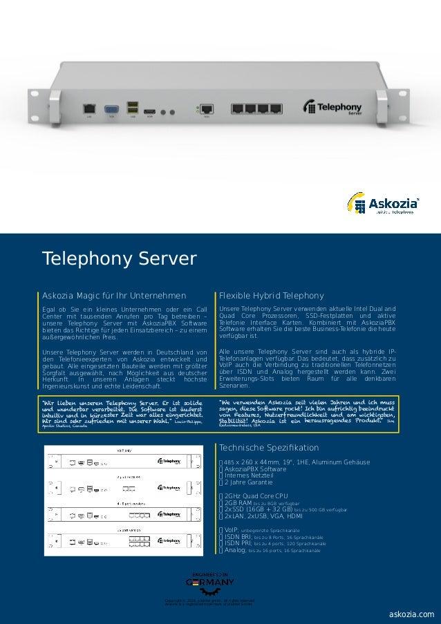 "Technische Spezifikation 485 x 260 x 44mm, 19"", 1HE, Aluminum Gehäuse AskoziaPBX Software Internes Netzteil 2 Jahre Garanti..."