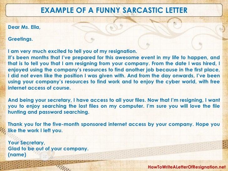 sarcastic resignation letter
