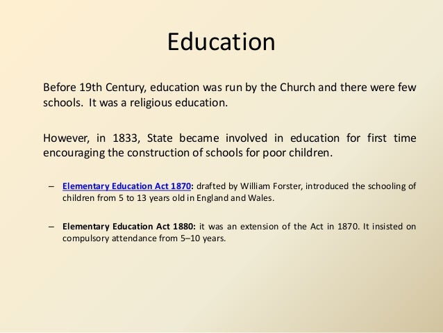 Victorian Morality 5 Education Before 19th