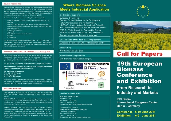 Where Biomass Science REVIEW PROCEDURE  Papers will be presented in plenary, oral and poster sessions and all presented pa...