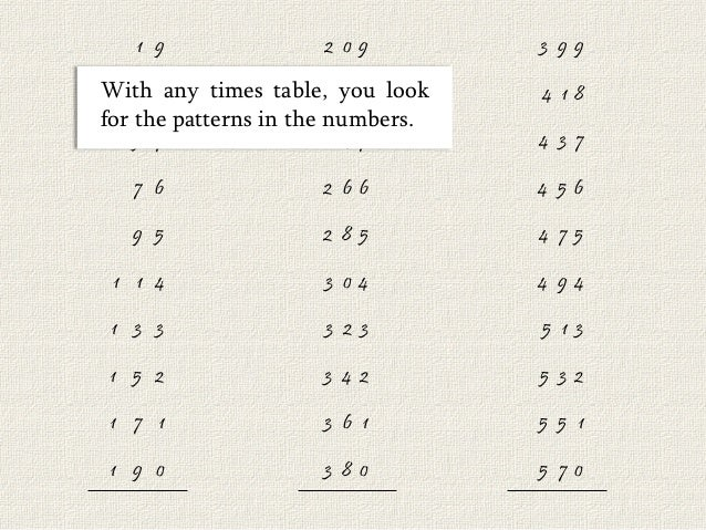 19 times table in a hurry