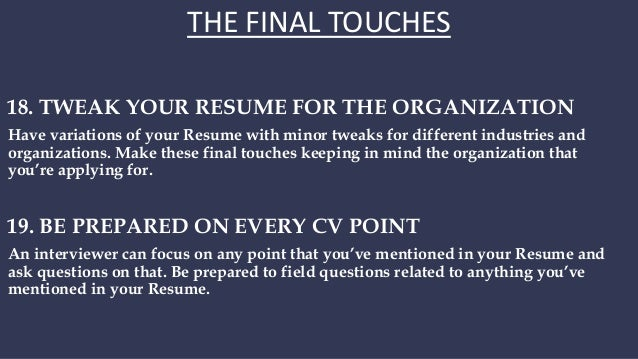9 the final touches have variations of your resume