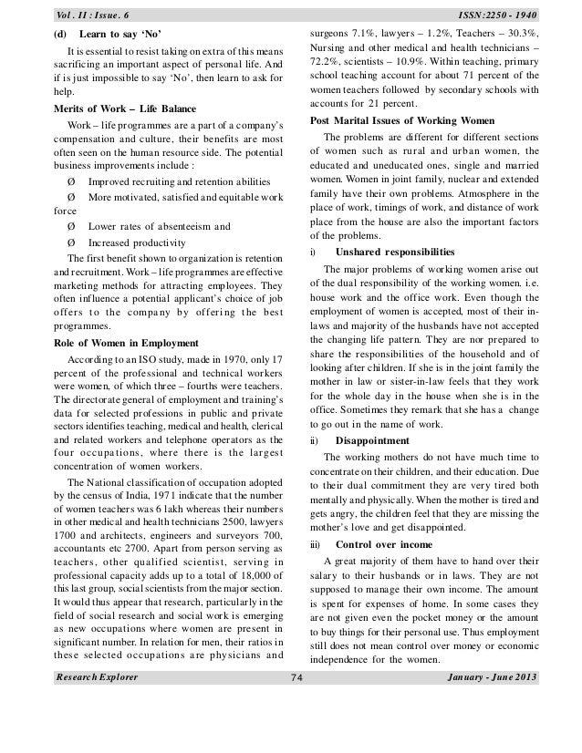 Dissertation on work life balance among female workers