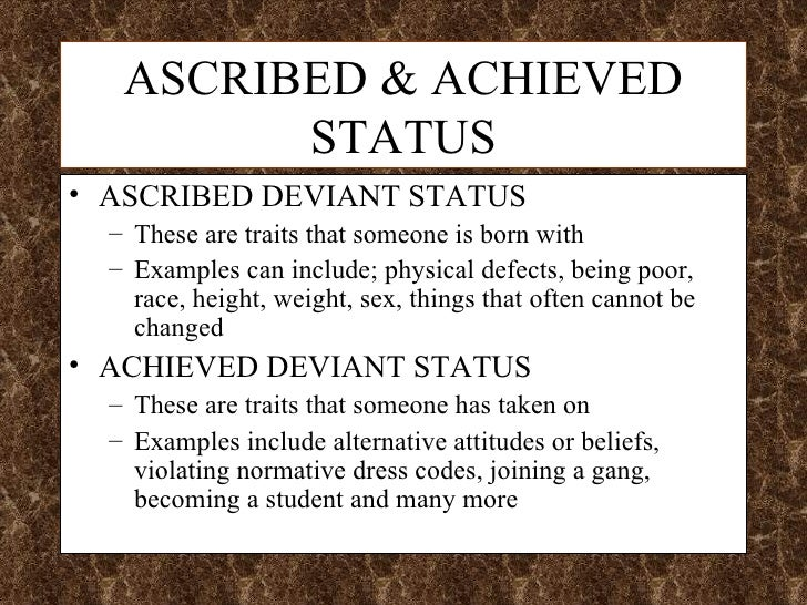 Achieved status definition sociology