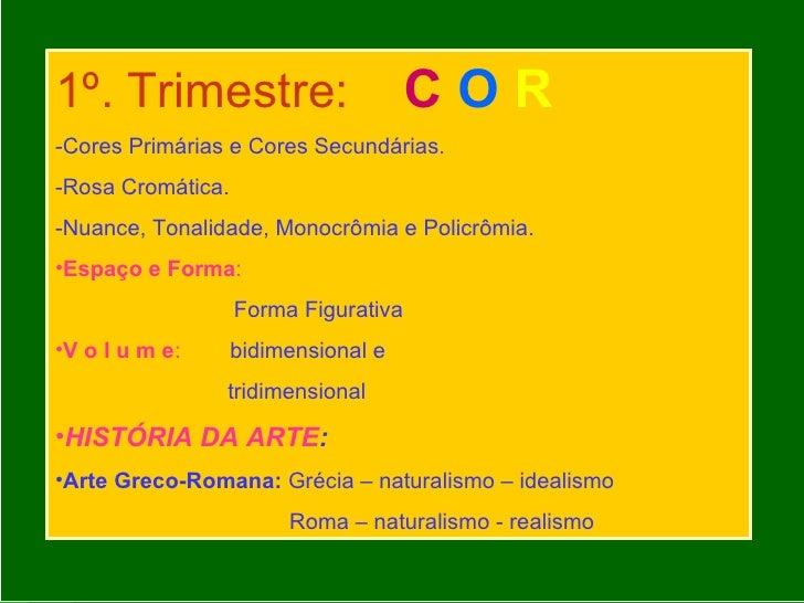 <ul><li>1º. Trimestre:   C  O   R   </li></ul><ul><li>-Cores Primárias e Cores Secundárias. </li></ul><ul><li>-Rosa Cromát...