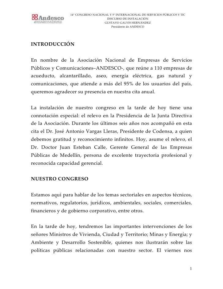 14° CONGRESO NACIONAL Y 5° INTERNACIONAL DE SERVICIOS PÚBLICOS Y TIC                                     DISCURSO DE INSTA...