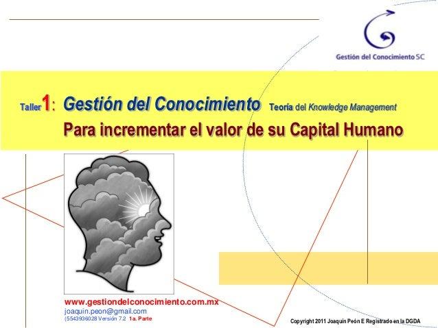 1: Gestión del ConocimientoTaller                                       Teoría del Knowledge Management         Para incre...