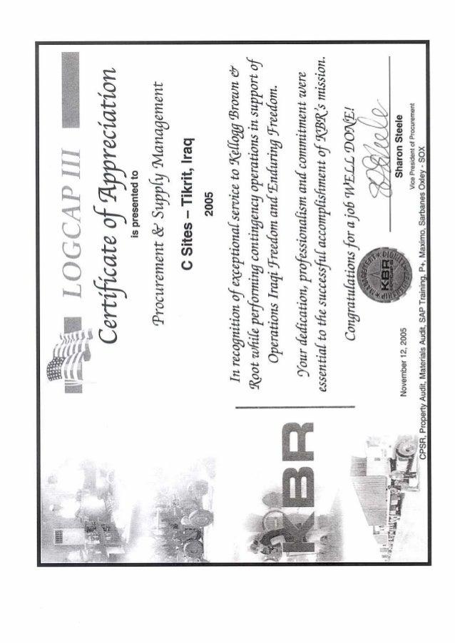 Kbr Certificate Of Appreciation November 12 2005