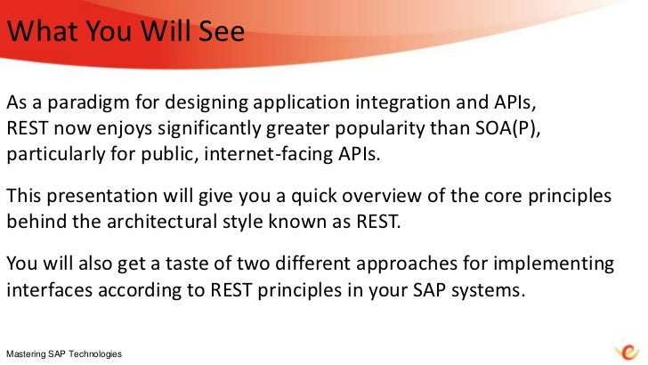 REST: So What's It All About? (Mastering SAP Technologies 2012) Slide 2