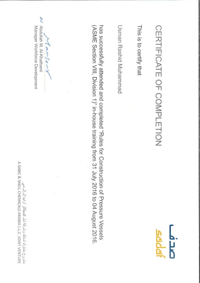 Training certificate ASME Sec VIII Div1 Rules for construction of Pr…