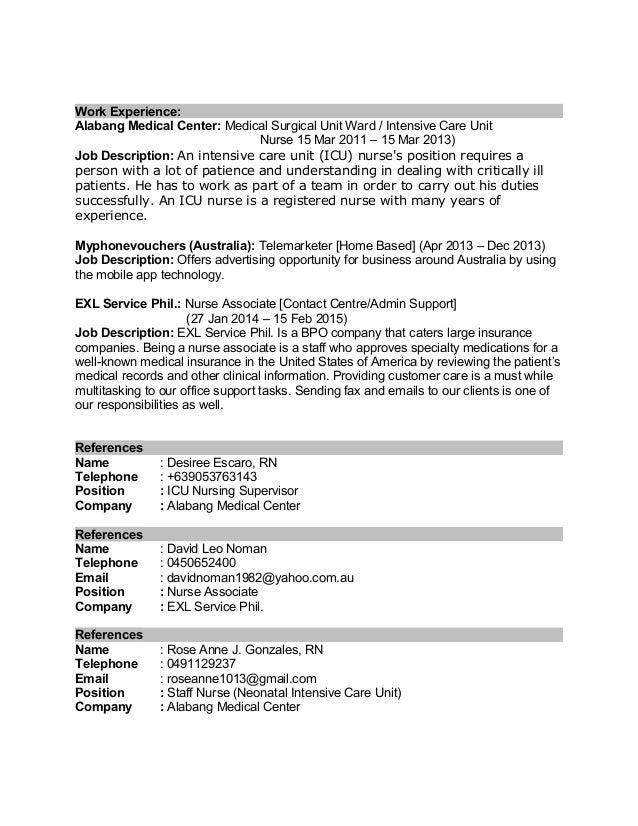 cvwhralph - Icu Nurse Job Description