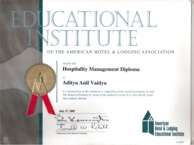 intl diploma cert  of the american hotel lodging association oi oiox ~a i american holel