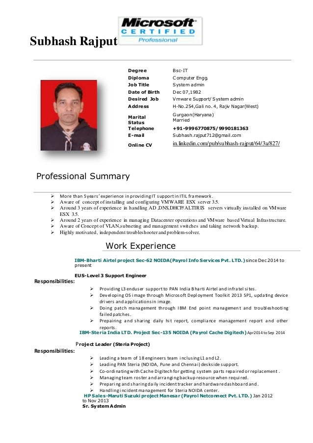 desired job title examples