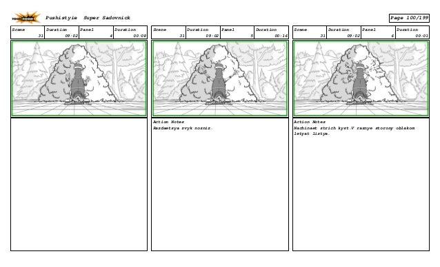 Scene 31 Duration 09:02 Panel 4 Duration 00:08 Scene 31 Duration 09:02 Panel 5 Duration 00:16 Action Notes Razdaetsya zvyk...