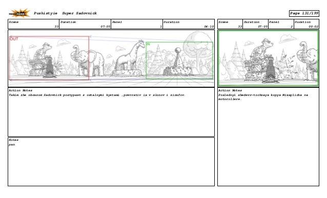 Scene 33 Duration 07:05 Panel 1 Duration 04:10 Action Notes Takim zhe obrazom Sadovnick postypaet s ostalnymi kystami ,pre...