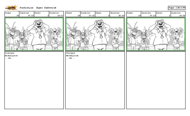Scene 34 Duration 07:23 Panel 3 Duration 00:07 Dialogue Michaiylich ...He... Scene 34 Duration 07:23 Panel 4 Duration 00:0...