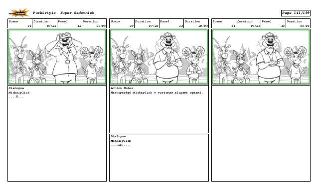 Scene 34 Duration 07:23 Panel 12 Duration 00:04 Dialogue Michaiylich ....U... Scene 34 Duration 07:23 Panel 13 Duration 00...