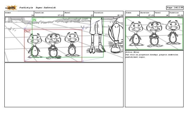 Scene 34 Duration 07:23 Panel 23 Duration 00:04 Scene 34 Duration 07:23 Panel 24 Duration 00:04 Action Notes Pan vniz na p...