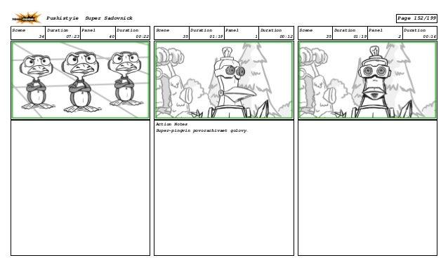 Scene 34 Duration 07:23 Panel 40 Duration 00:22 Scene 35 Duration 01:19 Panel 1 Duration 00:12 Action Notes Super-pingvin ...