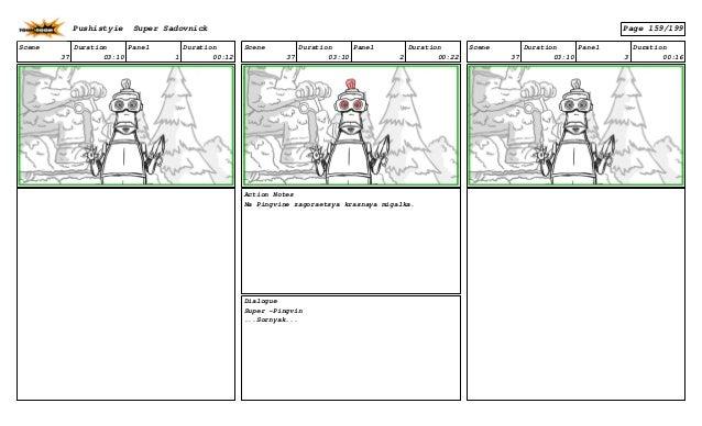 Scene 37 Duration 03:10 Panel 1 Duration 00:12 Scene 37 Duration 03:10 Panel 2 Duration 00:22 Action Notes Na Pingvine zag...