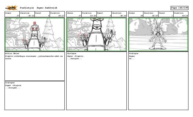 Scene 37 Duration 03:10 Panel 4 Duration 00:17 Action Notes Pingvin schelkaya noznizami ,ystrashausche edet na zaiza. Dial...