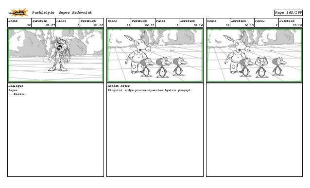 Scene 38 Duration 03:07 Panel 5 Duration 01:00 Dialogue Zayaz ...Karaul! Scene 39 Duration 04:15 Panel 1 Duration 00:16 Ac...