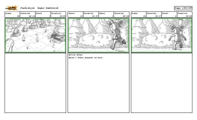 Scene 40 Duration 02:14 Panel 7 Duration 00:09 Scene 41 Duration 01:17 Panel 1 Duration 00:04 Action Notes Baran i Kozel p...