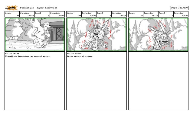 Scene 44 Duration 07:09 Panel 9 Duration 00:10 Action Notes Michailych brosaetsya na pomosch zaizy. Scene 45 Duration 00:1...