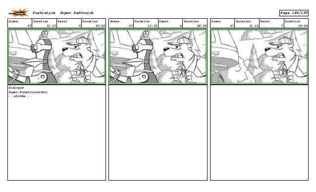 Scene 47 Duration 11:10 Panel 5 Duration 00:08 Dialogue Super-Pingvin(nervno) ...shibka... Scene 47 Duration 11:10 Panel 6...