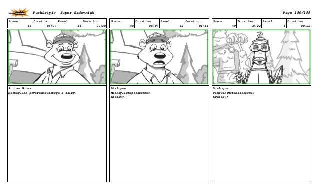 Scene 48 Duration 05:07 Panel 11 Duration 00:20 Action Notes Michaylich povorachivaetsya k zaizy. Scene 48 Duration 05:07 ...