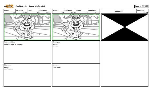 Scene 51 Duration 15:13 Panel 15 Duration 00:17 Action Notes Podmigivaet v kamery. Dialogue Zayaz ...Poch... Scene 51 Dura...