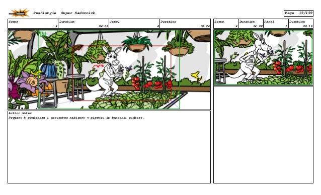 Scene 4 Duration 04:08 Panel 4 Duration 00:24 Action Notes Prygaet k pomidoram i accuratno nabiraet v pipetku iz banochki ...
