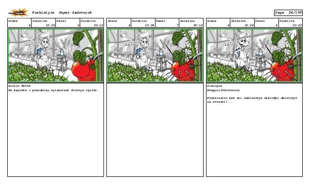 Scene 6 Duration 15:04 Panel 6 Duration 00:12 Action Notes Na kapuste i pomidorax vyirastaut dlinnye igolki. Scene 6 Durat...