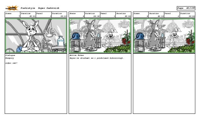 Scene 7 Duration 05:01 Panel 3 Duration 00:10 Dialogue Kengury soboi net? Scene 8 Duration 02:10 Panel 1 Duration 00:06 Ac...