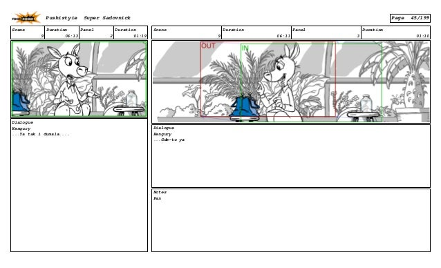 Scene 9 Duration 06:13 Panel 2 Duration 01:19 Dialogue Kengury ...Ya tak i dumala.... Scene 9 Duration 06:13 Panel 3 Durat...