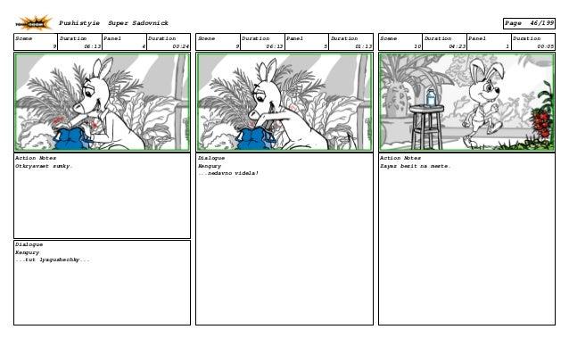 Scene 9 Duration 06:13 Panel 4 Duration 00:24 Action Notes Otkryavaet sumky. Dialogue Kengury ...tut lyagushechky... Scene...