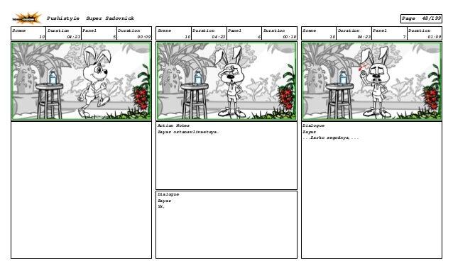 Scene 10 Duration 04:23 Panel 5 Duration 00:09 Scene 10 Duration 04:23 Panel 6 Duration 00:18 Action Notes Zayaz ostanavli...