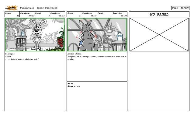 Scene 10 Duration 04:23 Panel 8 Duration 01:13 Dialogue Zayaz ...y tebya popit,nichego net? Scene 11 Duration 01:19 Panel ...