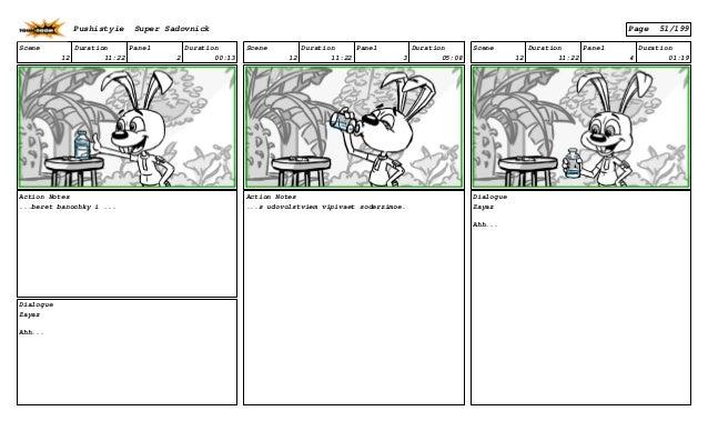 Scene 12 Duration 11:22 Panel 2 Duration 00:13 Action Notes ...beret banochky i ... Dialogue Zayaz Ahh... Scene 12 Duratio...