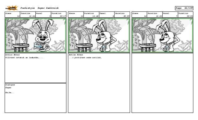 Scene 12 Duration 11:22 Panel 5 Duration 00:17 Action Notes Vilivaet ostatok na ladoshku,... Dialogue Zayaz Ha,ha.. Scene ...