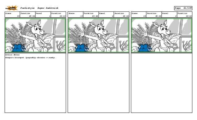 Scene 15 Duration 05:08 Panel 1 Duration 00:10 Action Notes Kenguru brosayet lyagushky obratno v sumky. Scene 15 Duration ...