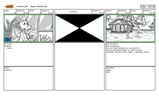 Scene 15 Duration 05:08 Panel 6 Duration 01:16 Dialogue Kengury ...three. Notes perepliv Dissolve Duration 00:16 Scene 16 ...