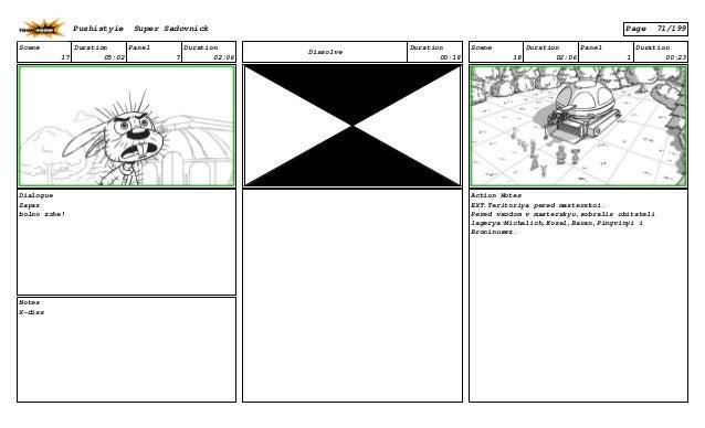 Scene 17 Duration 05:02 Panel 7 Duration 02:06 Dialogue Zayaz bolno zche! Notes X-diss Dissolve Duration 00:18 Scene 18 Du...