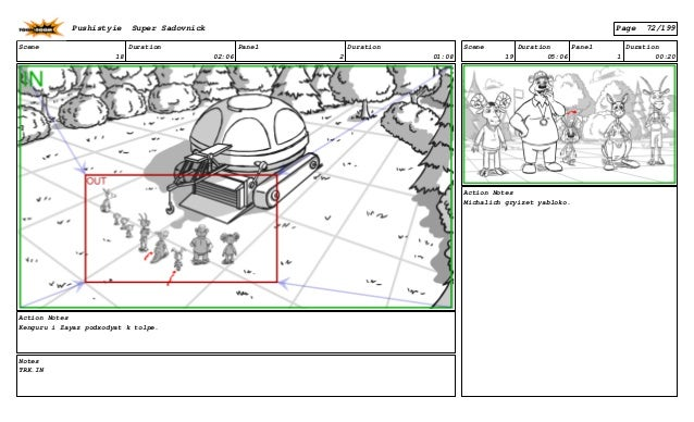 Scene 18 Duration 02:06 Panel 2 Duration 01:08 Action Notes Kenguru i Zayaz podxodyat k tolpe. Notes TRK.IN Scene 19 Durat...