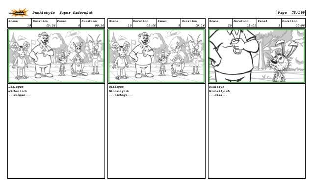 Scene 19 Duration 05:06 Panel 8 Duration 00:16 Dialogue Michailich ...simpai... Scene 19 Duration 05:06 Panel 9 Duration 0...