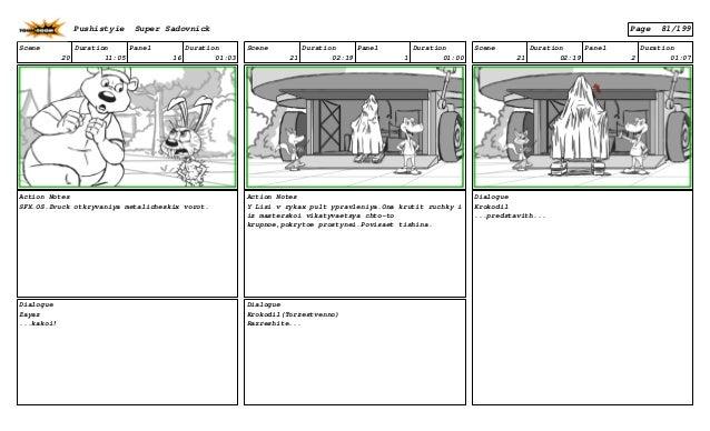 Scene 20 Duration 11:05 Panel 16 Duration 01:03 Action Notes SFX.OS.Zvuck otkryvaniya metalicheskix vorot. Dialogue Zayaz ...