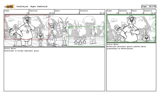 Scene 23 Duration 04:01 Panel 2 Duration 02:15 Action Notes Broninosez ot straxa zakryvaet glaza. Scene 23 Duration 04:01 ...