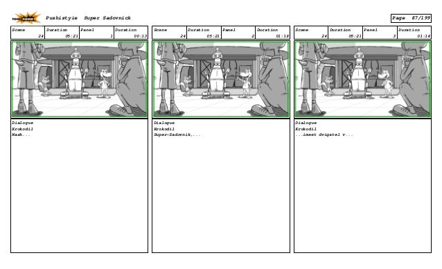 Scene 24 Duration 05:21 Panel 1 Duration 00:13 Dialogue Krokodil Nash... Scene 24 Duration 05:21 Panel 2 Duration 01:18 Di...